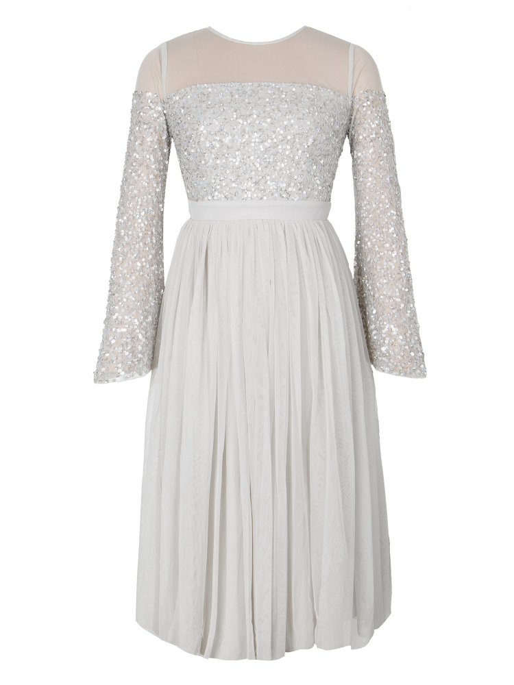 Maya Soft Grey Embellished Midi Dress with Yoke and Bell Sleeves