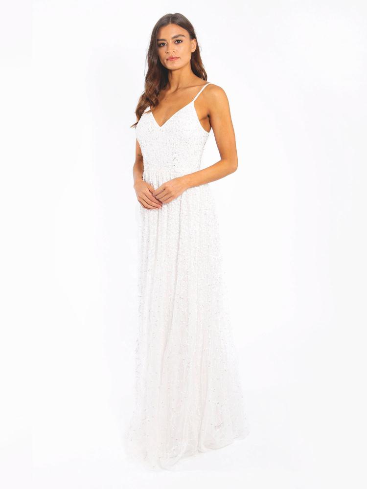 Maya Ivory Bridal V Neck Embellished Maxi Dress