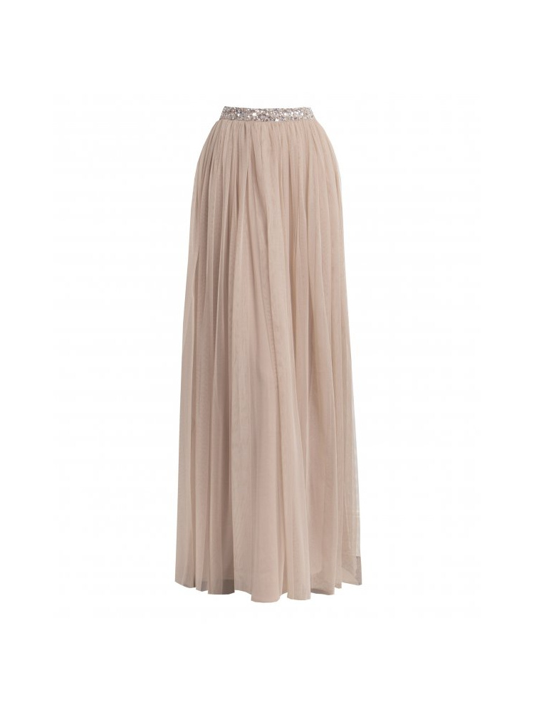 Maya Deluxe Taupe Blush Sequin Co-ord Maxi Skirt