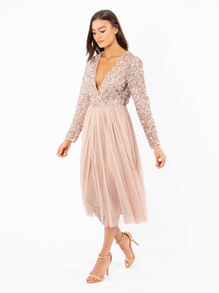 Maya Taupe Blush Faux Wrap Front Embellished Midi Dress