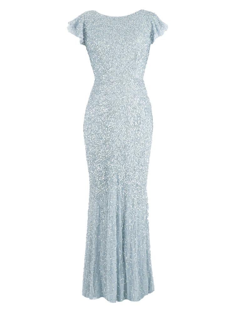 Maya Light Blue Fully Embellished Flutter Sleeve Maxi Dress