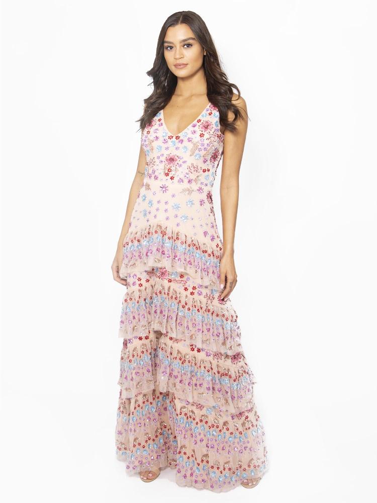 Maya Multi Embellished Tiered Ruffle Detail Maxi Dress