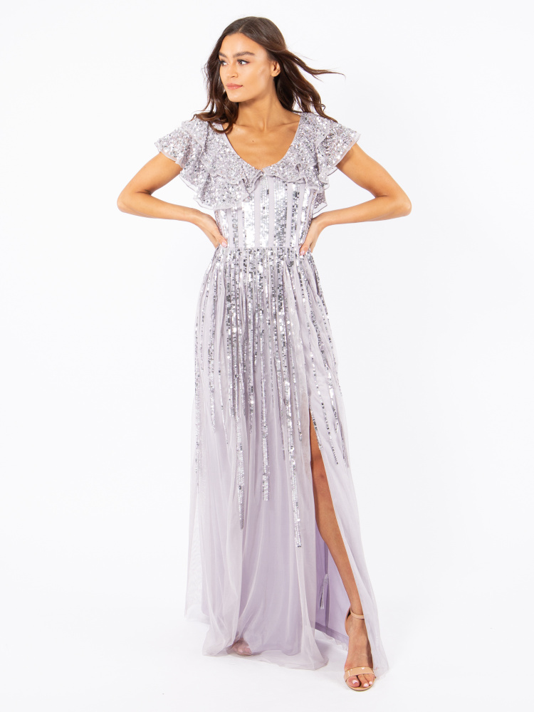 Maya Lilac Stripe Embellished Maxi Dress With Side Split