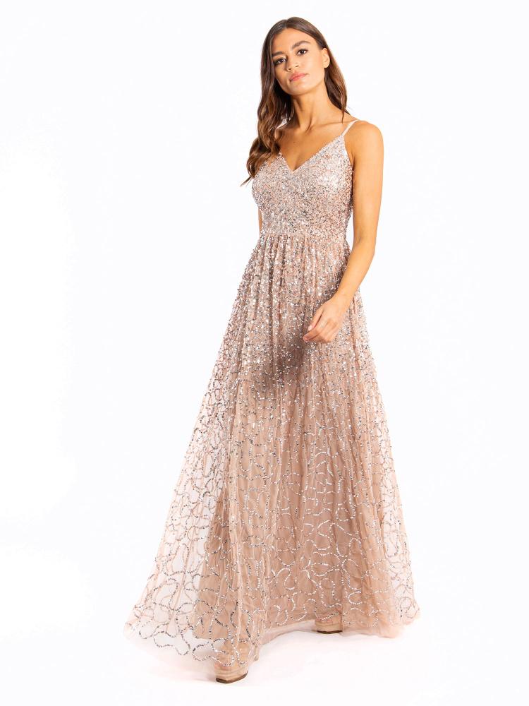 Maya Taupe Blush Embellished V Neck Maxi Dress