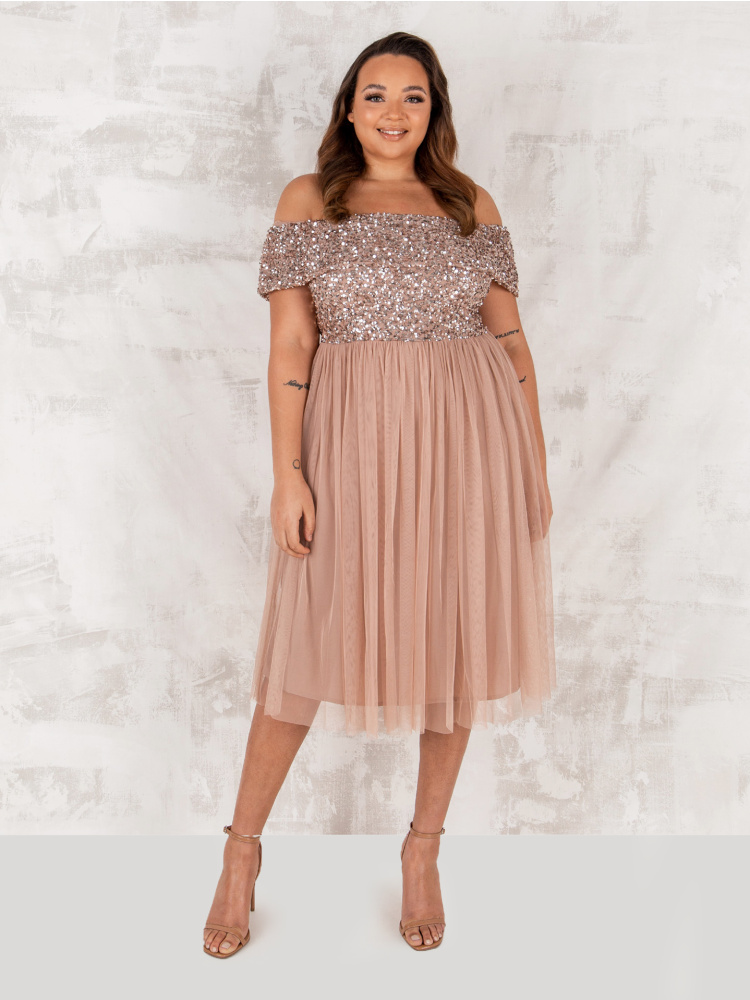 Maya Taupe Blush Bardot Embellished Midi Dress