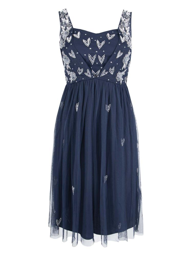 Maya Curve Navy Heart Embellished Midi Dress