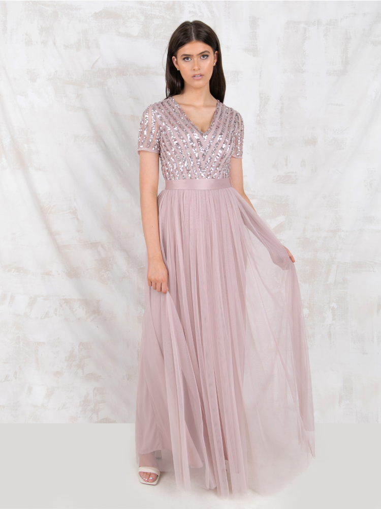 Maya Frosted Pink Stripe Embellished Maxi Dress With Sash Belt