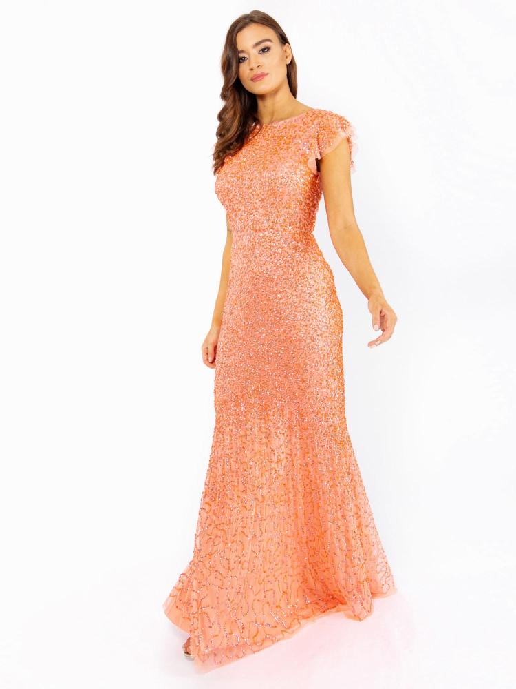 Maya Coral Fully Embellished Flutter Sleeve Maxi Dress
