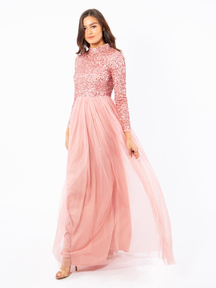 Maya Blossom Pink High Neck Embellished Maxi Dress