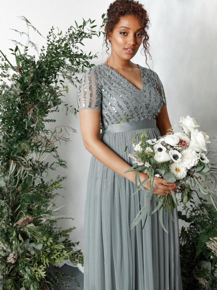 Maya Misty Green Stripe Embellished Maxi Dress With Sash Belt