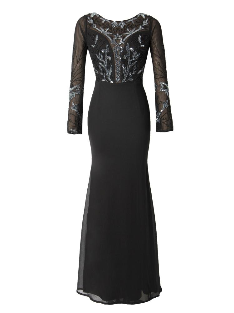 Maya Bell sleeve fishtail skirt embellished maxi dress