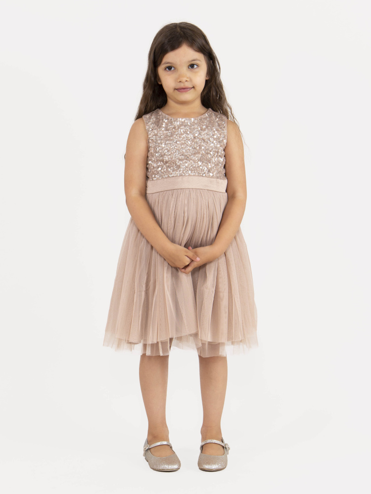 Mini Maya Taupe Blush Delicate Sequin Midi Dress with Bow