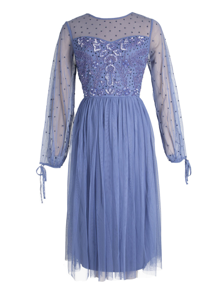 Maya Blue Embellished Long Sleeve Midi Dress