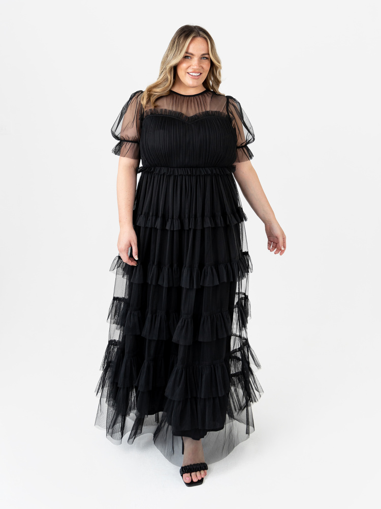 Anaya With Love Recycled Black Short Sleeve Tiered Maxi Dress with Frill Detail