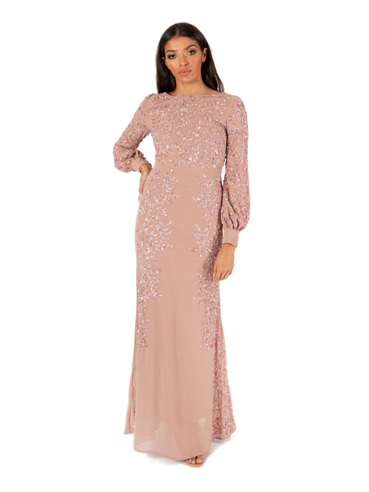 Maya Pale Mauve Embellished Maxi Dress with Bishop Sleeves