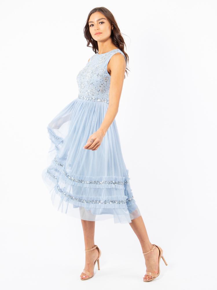 Maya Blue Leaf Embellished Midi Dress with Ruffle Detail