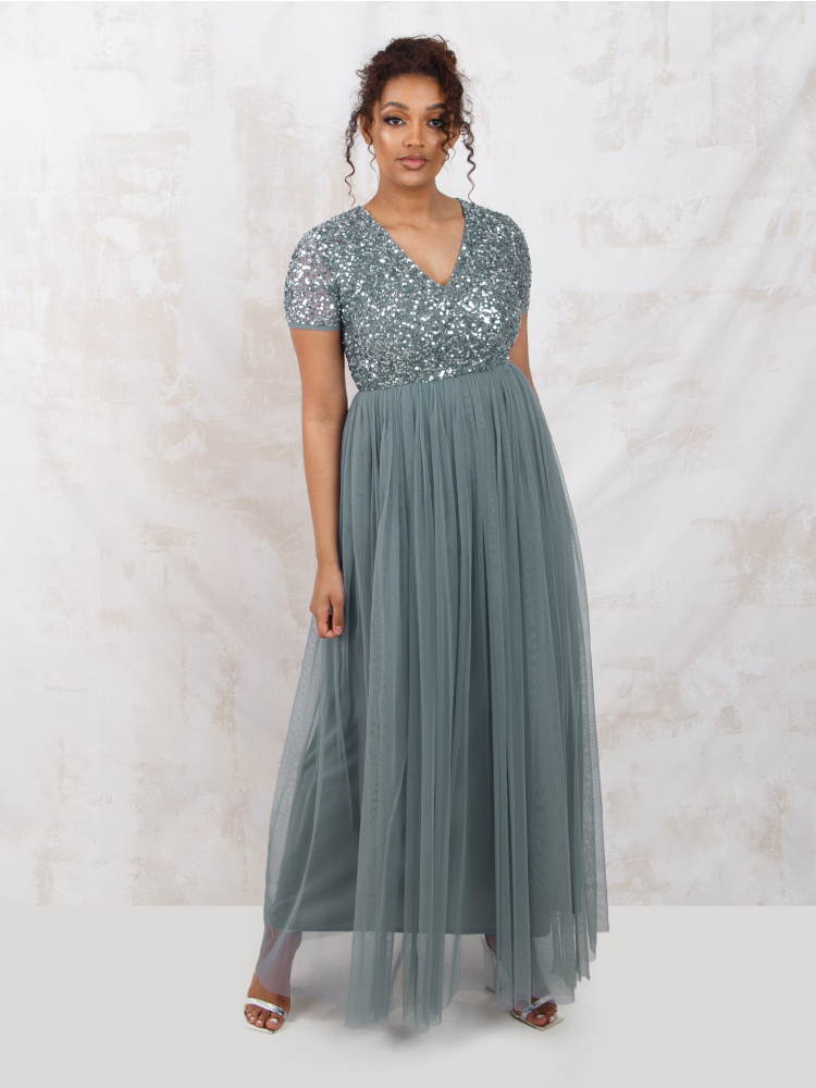 Maya Misty Green V Neckline Embellished Maxi Dress