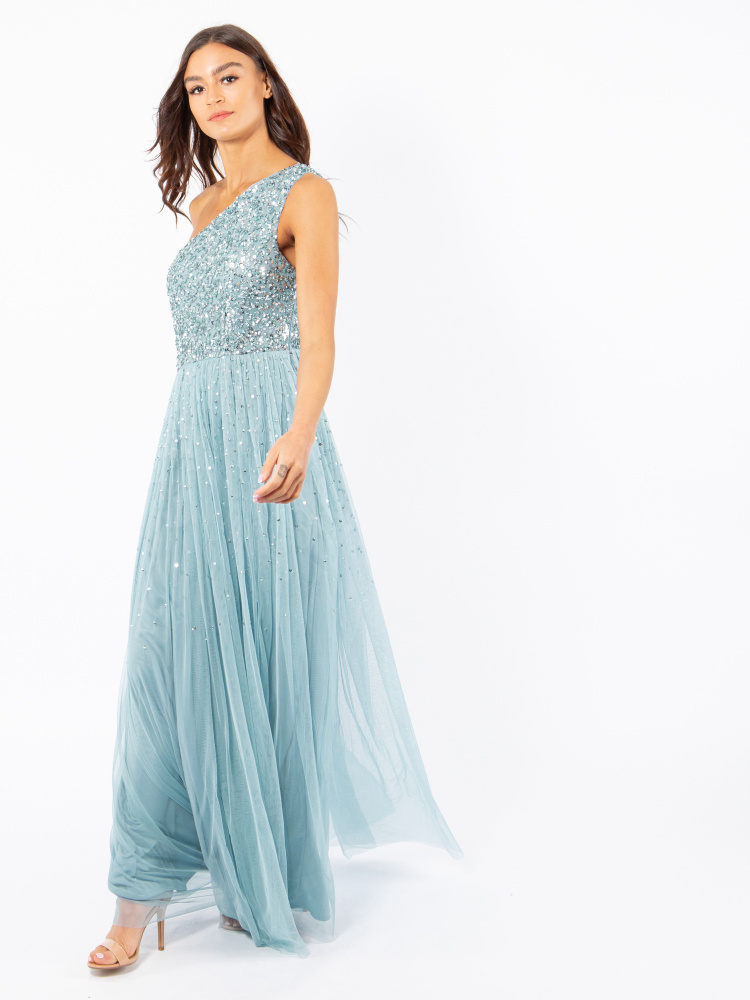 Maya Aquatic Blue One Shoulder Embellished Maxi Dress
