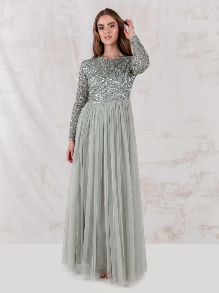 Maya Green Lily Embellished Long Sleeve Maxi Dress