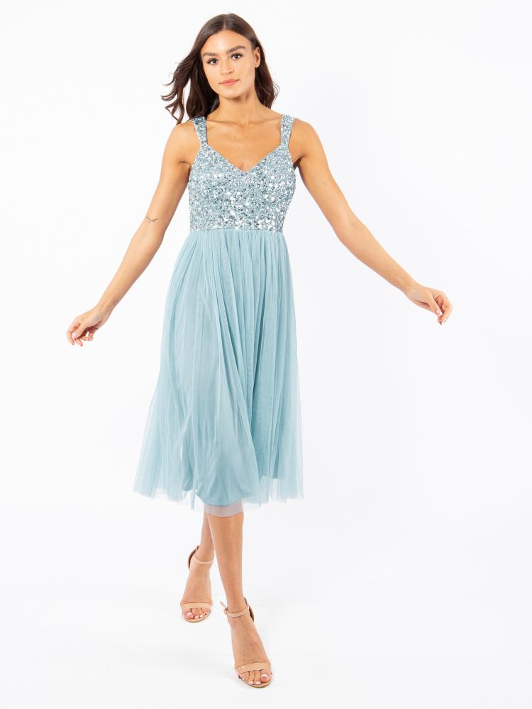 Maya Aquatic Blue Embellished Midi Dress