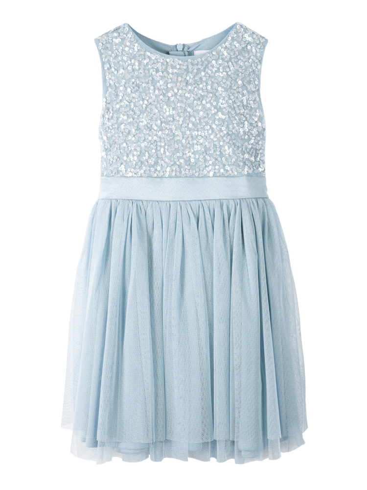 Mini Maya Powder Blue Delicate Sequin Midi Dress with Bow