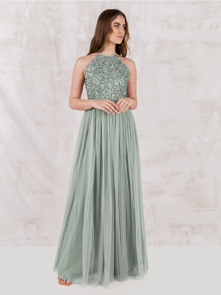 Maya Green Lily Embellished Halter Neck Maxi Dress