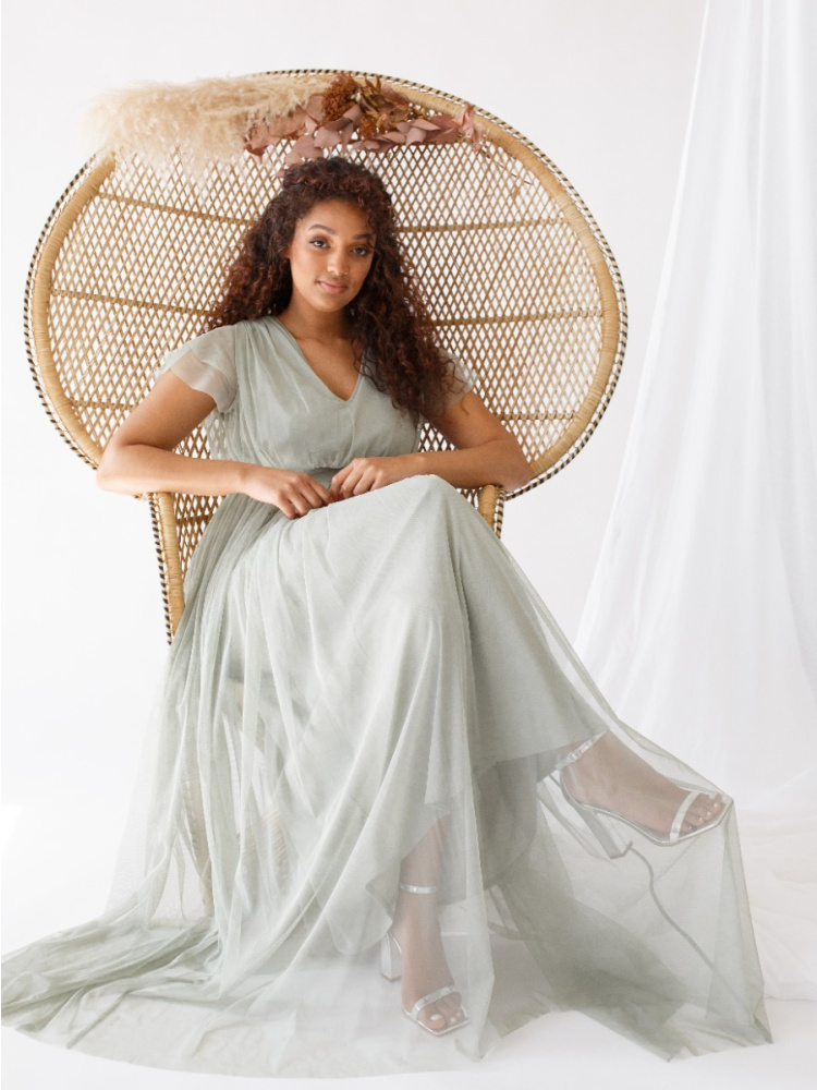 Anaya With Love Soft Sage V Neckline Recycled Tulle Maxi Dress with Sash Belt