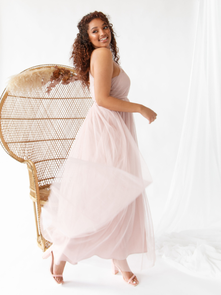 Anaya With Love Frosted Pink One Shoulder Recycled Tulle Maxi Dress