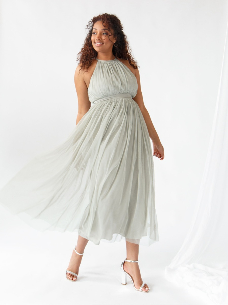 Anaya With Love Soft Sage Halter Neck Recycled Tulle Midaxi Dress