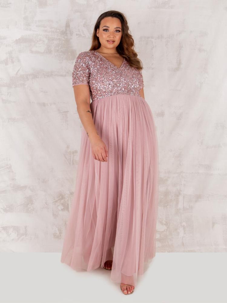 Maya Curve Frosted Pink V Neckline Embellished Maxi Dress