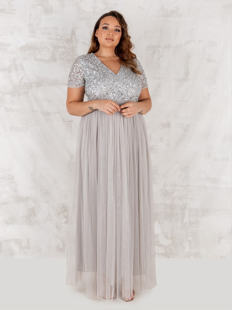 Maya Curve Soft Grey V Neckline Embellished Maxi Dress