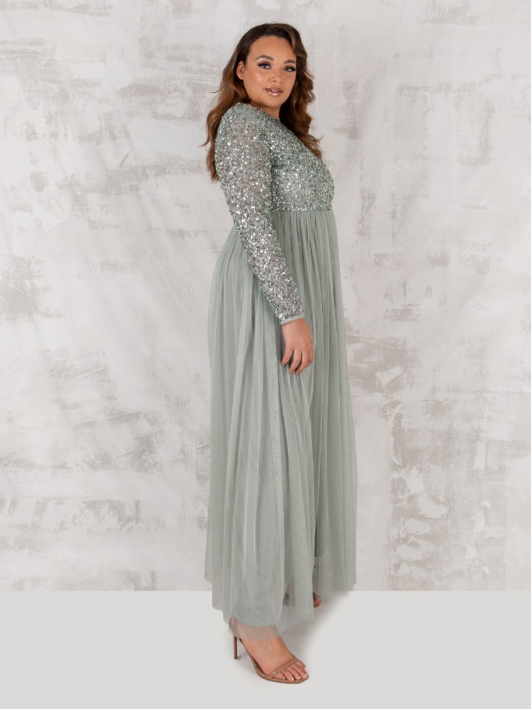 Maya Curve Green Lily Embellished Long Sleeve Maxi Dress
