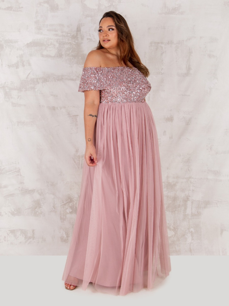 Maya Curve Frosted Pink Bardot Embellished Maxi Dress
