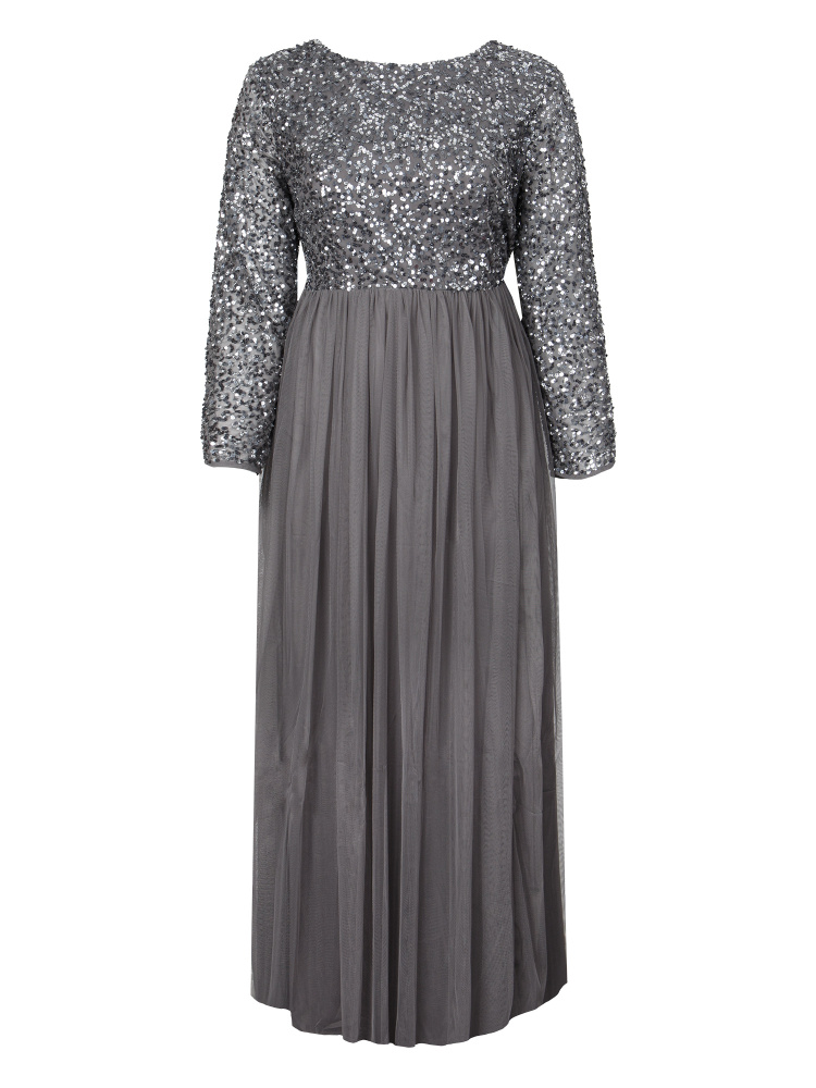 Maya Curve Charcoal Embellished Long Sleeve Maxi Dress