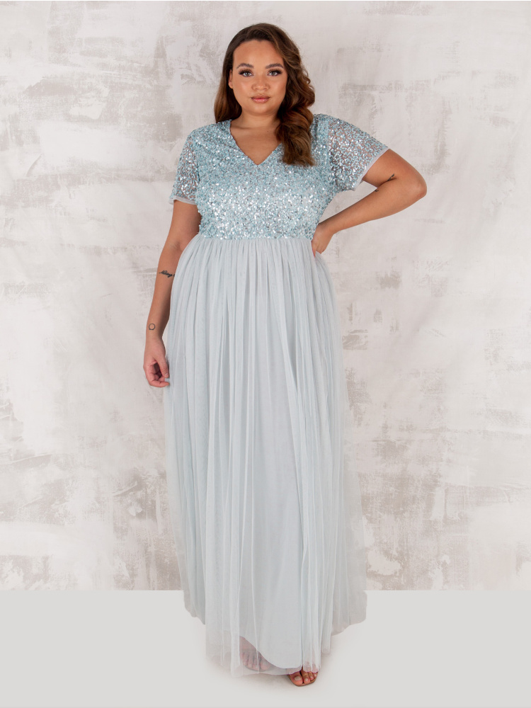 Maya Curve Ice Blue V Neckline Embellished Maxi Dress