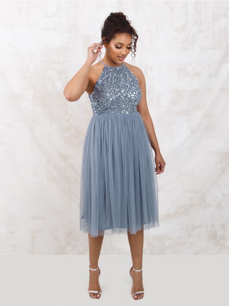 Maya Dusty Blue Embellished Halter Neck Midi Dress