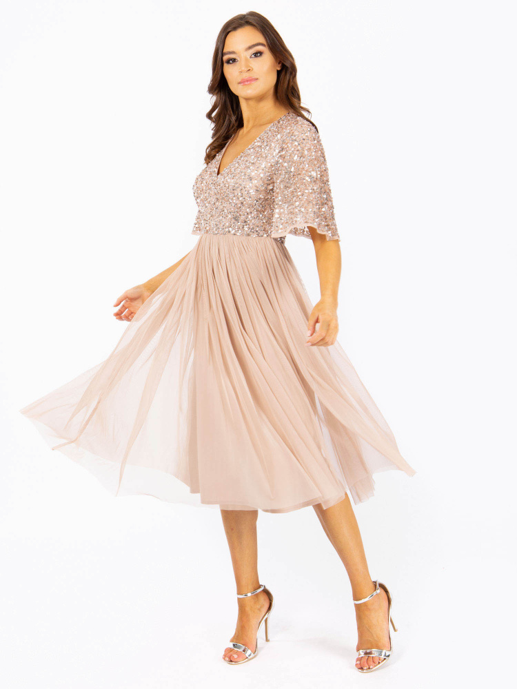 Maya Taupe Blush Short Flutter Sleeve Embellished Midi Dress