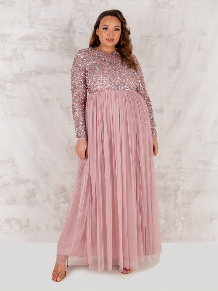 Maya Curve Frosted Pink Embellished Long Sleeve Maxi Dress
