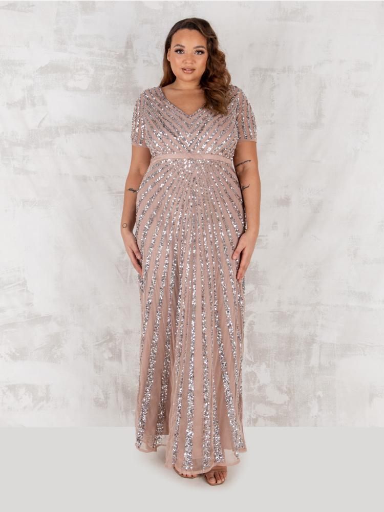 Maya Curve Taupe Blush Short Sleeve Stripe Embellished Maxi Dress