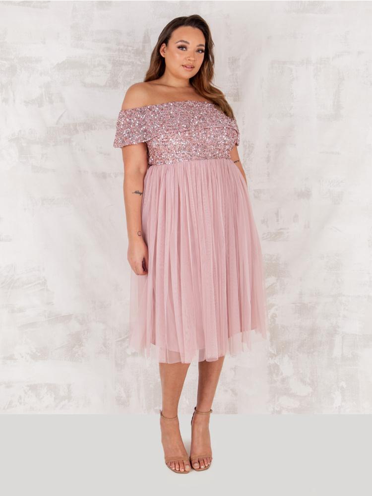 Maya Curve Frosted Pink Bardot Embellished Midi Dress
