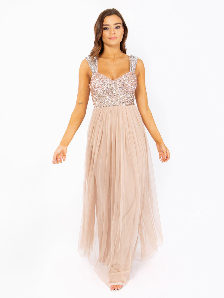 Maya Taupe Blush Wide Strap Embellished Maxi Dress