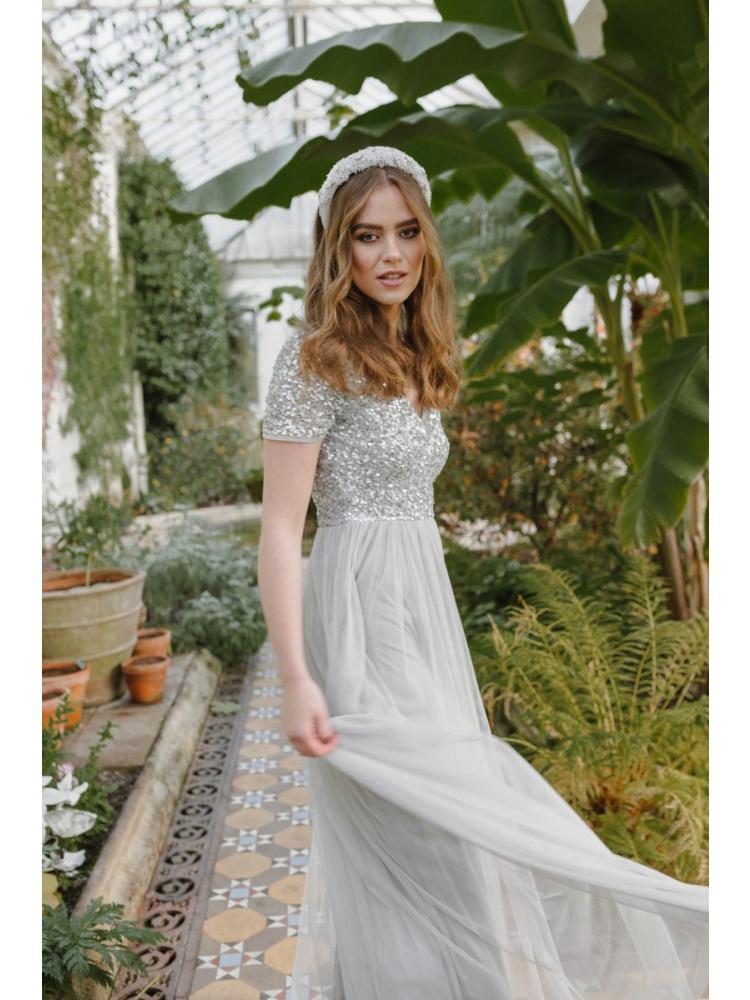 Maya Soft Grey V Neckline Embellished Maxi Dress