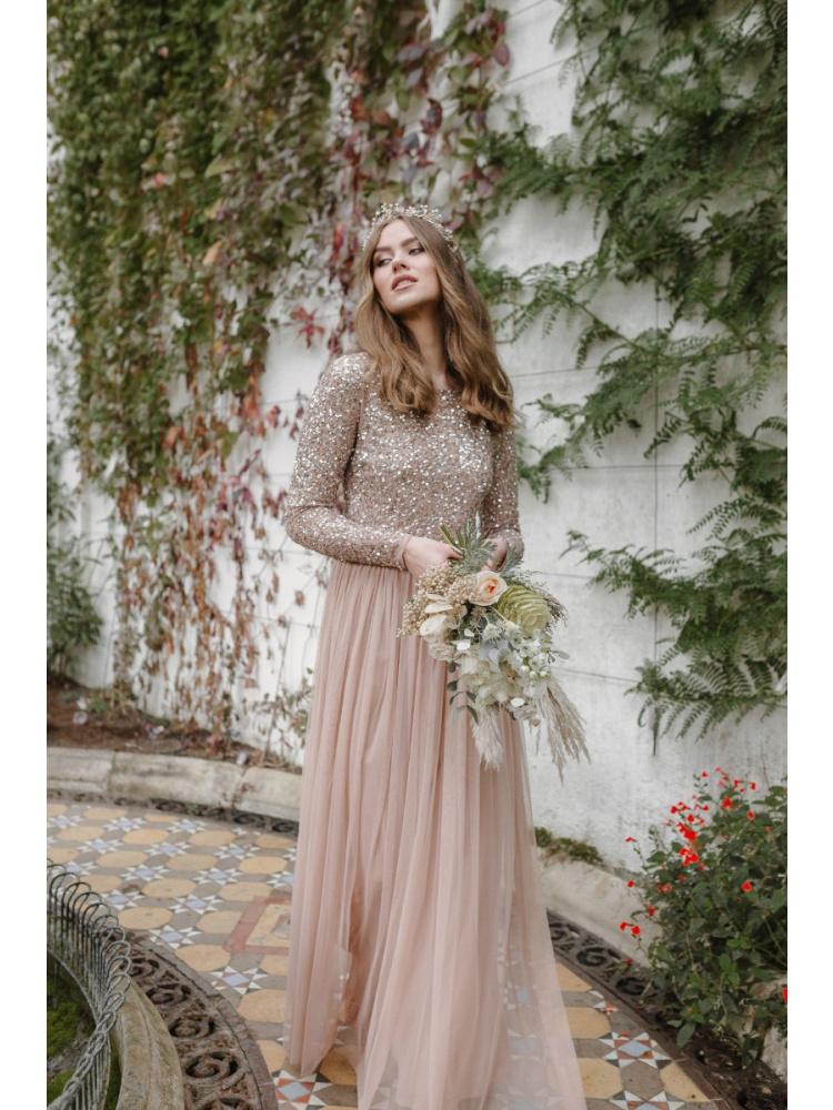 Maya Taupe Blush Embellished Long Sleeve Maxi Dress