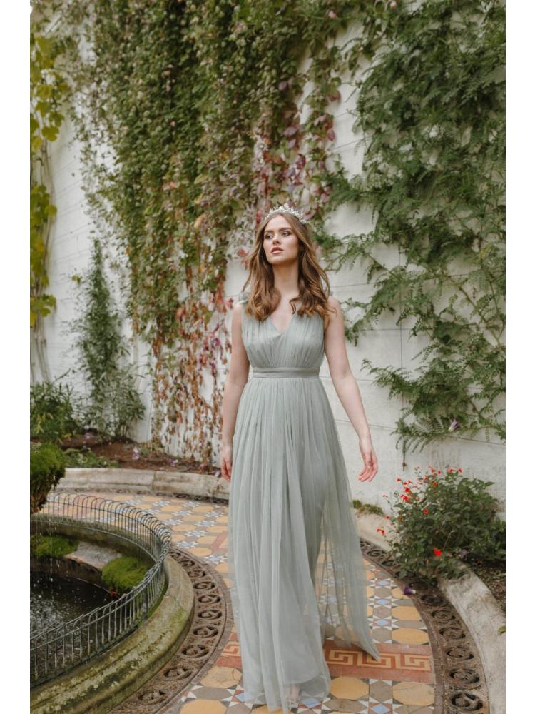 Maya Green Lily Maxi Dress with Ruffle Shoulder Detail