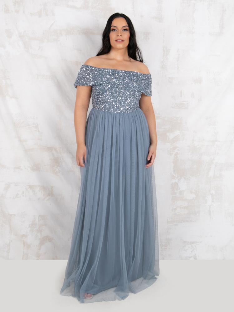 Maya Curve Dusty Blue Bardot Embellished Maxi Dress