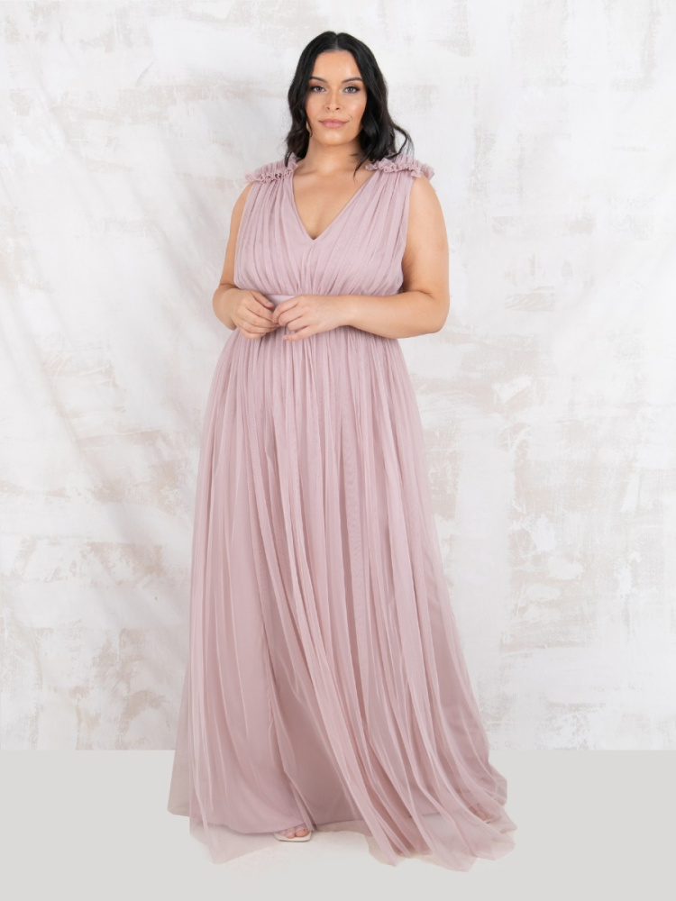 Maya Curve Frosted Pink Maxi Dress With Ruffle Shoulder Detail