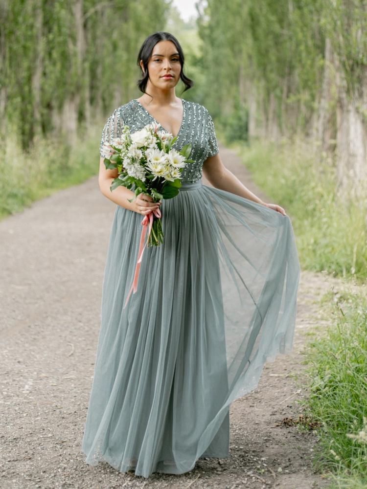 Maya Curve Misty Green Stripe Embellished Maxi Dress With Sash Belt