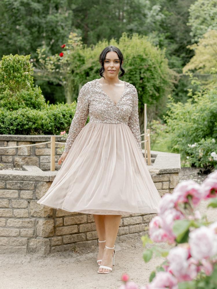 Maya Curve Taupe Blush Faux Wrap Front Embellished Midi Dress