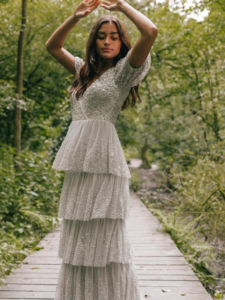 Maya Soft Grey Short Sleeve Embellished Tiered Maxi Dress