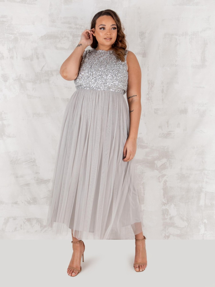 Maya Soft Grey Embellished Midaxi Dress